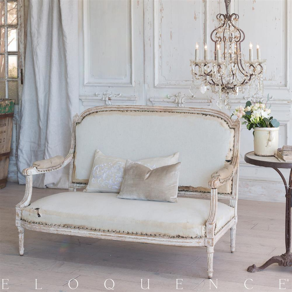 Eloquence French Country Style Antique Sofa: 1860 | Kathy Kuo Home