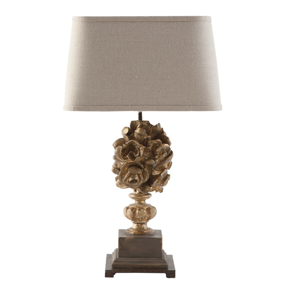 French Country Blue Lamps: Antique Gold French Country Floral Bouquet European Table Lamp