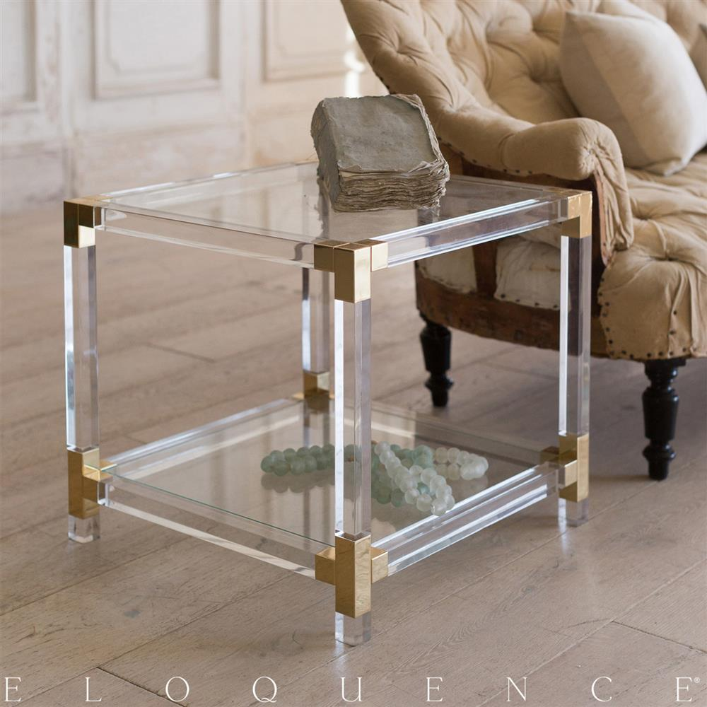 Eloquence French Country Style Pair Of Vintage Lucite Side Tables: 1960    Kathy Kuo Home ...