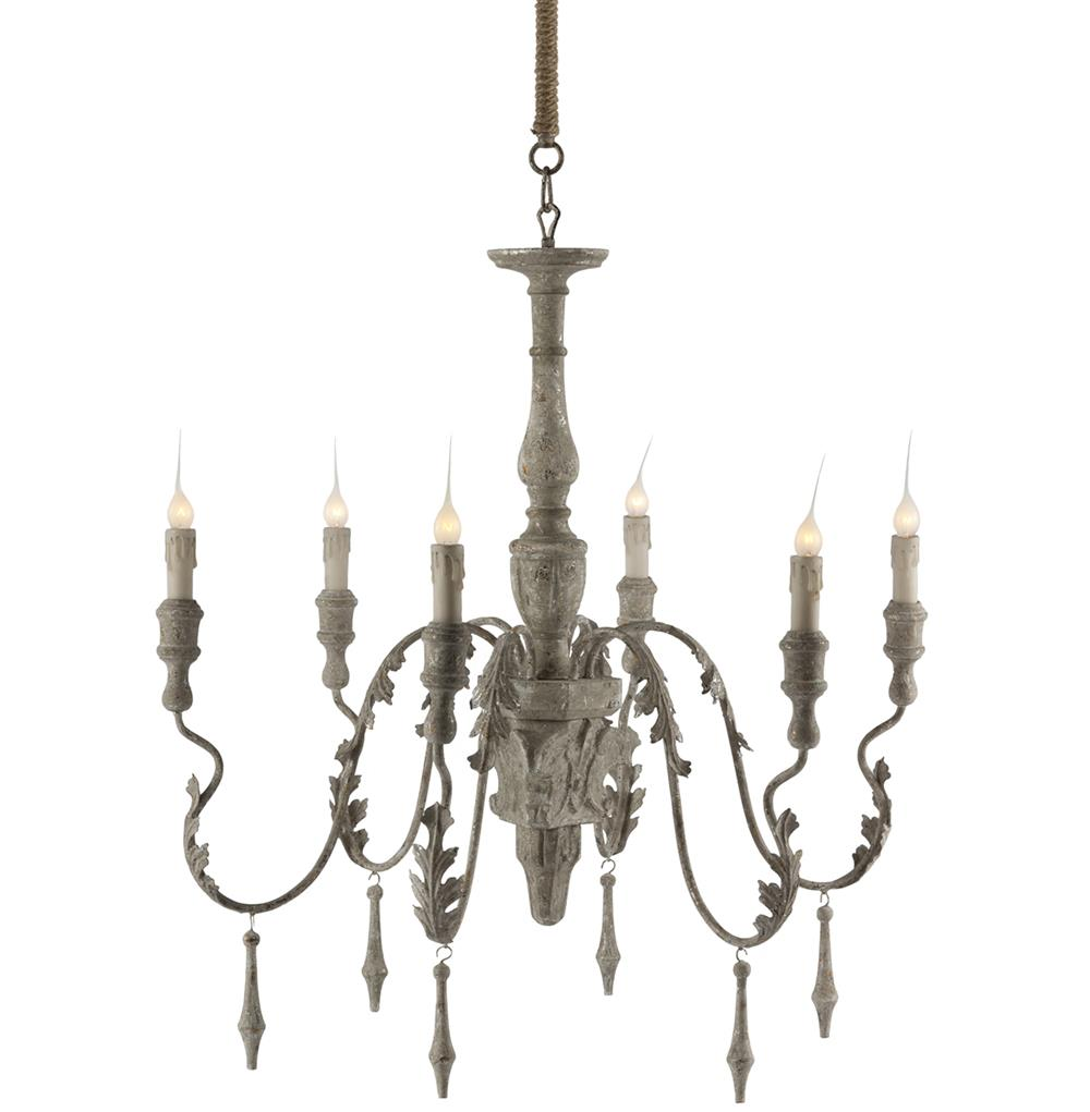 Charlemagne french country grey wash 6 light chandelier French country chandelier