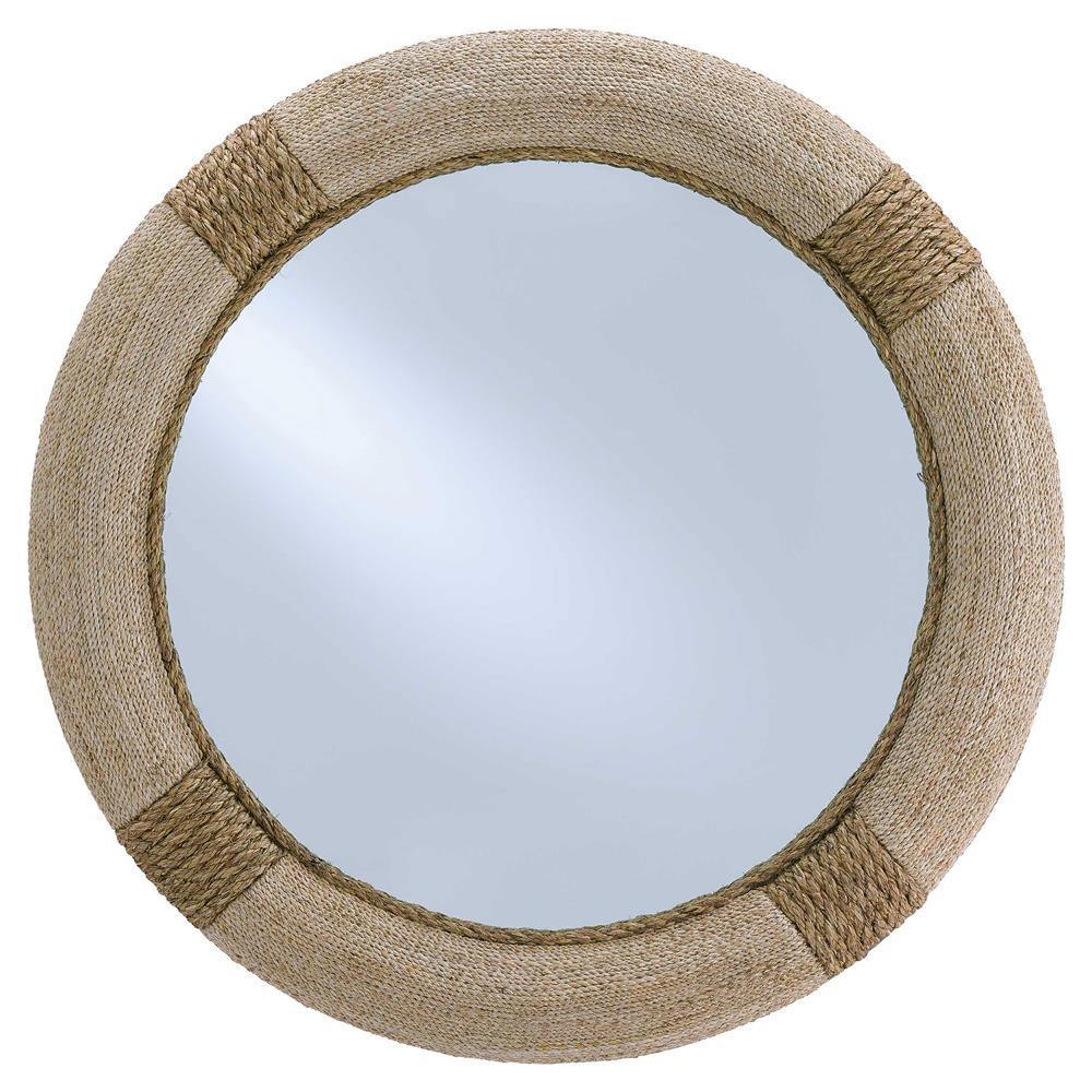 Azure Coastal Beach Rope Wred Round Porthole Mirror 36d Kathy Kuo Home