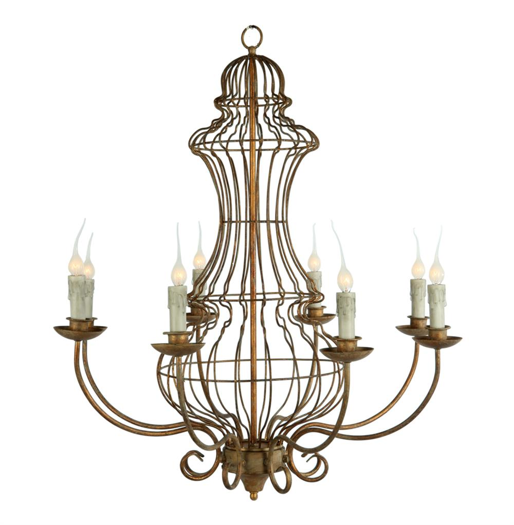 French country genie urn wireframe garden 8 light chandelier French country chandelier