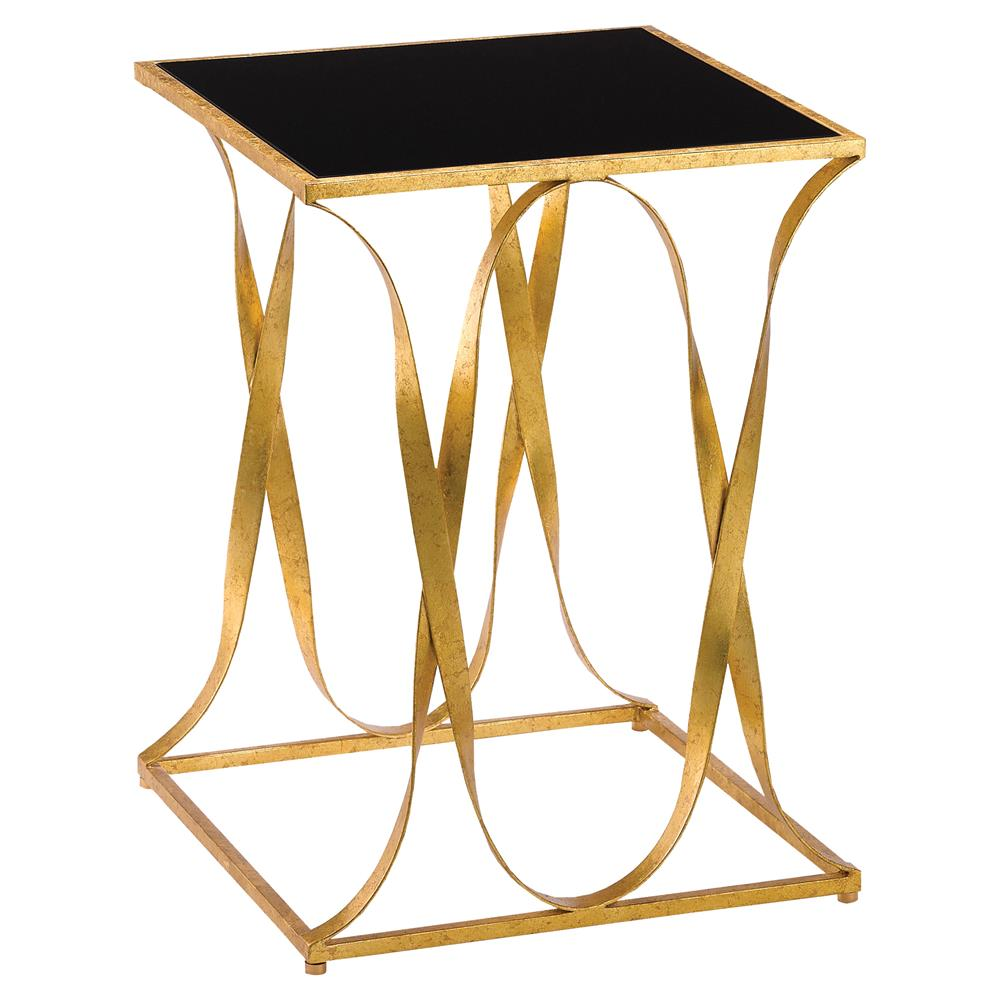 Walsh Hollywood Regency Square Gold Iron Ribbon Black Glass Top