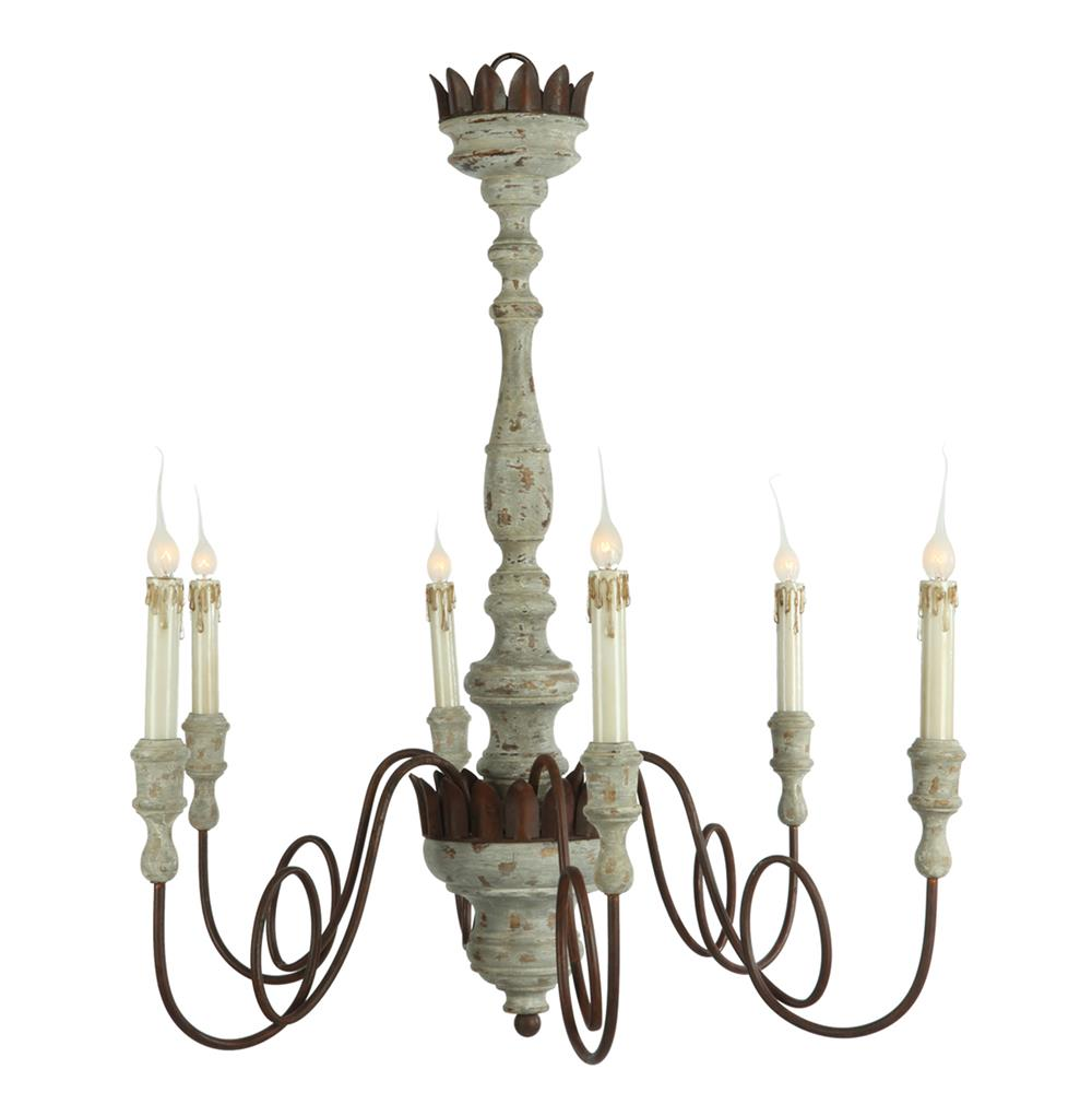 Mumaw french country rustic 6 light gray wash chandelier French country chandelier