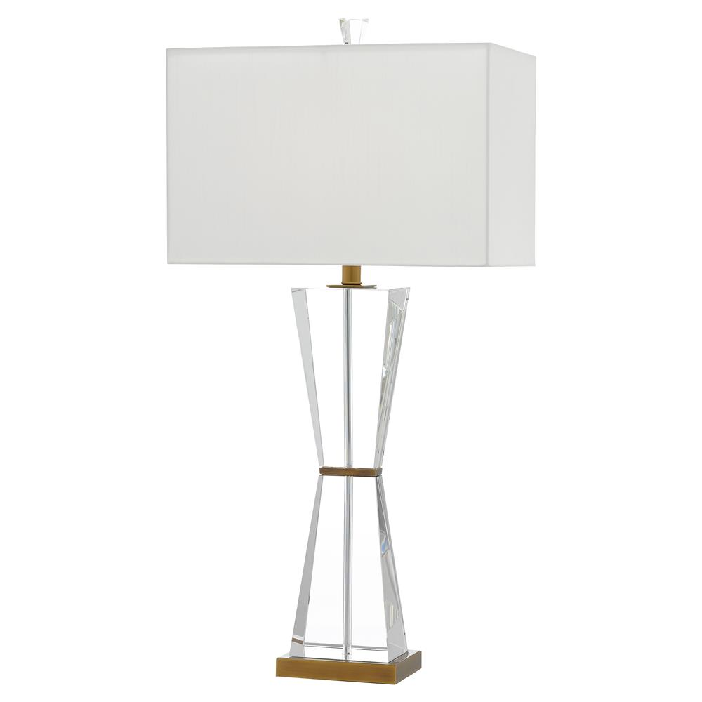 Tai Modern Classic Clear Optic Crystal Brass White Rectangular Shade