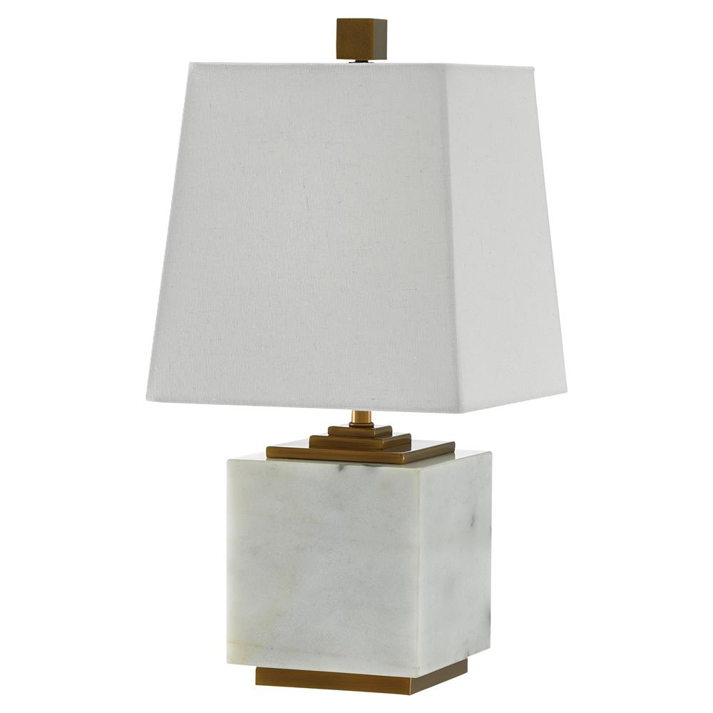Yara Modern Regency White Marble Square Geometric Gold Table Lamp | Kathy  Kuo Home