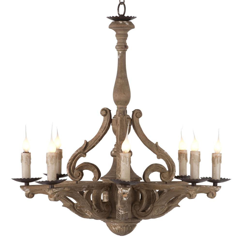 Castille Rustic Carved Wood European 8 Light Chandelier