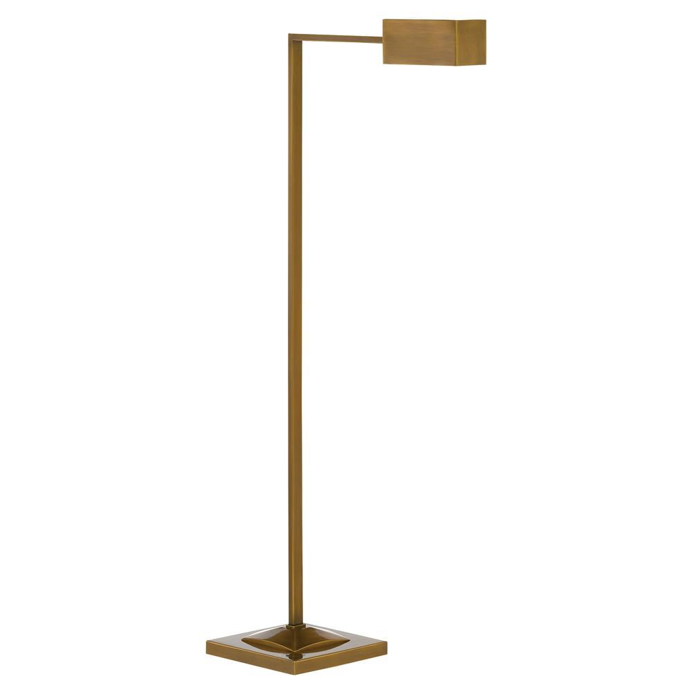 Modern Metal Floor Lamp: Frieda Industrial Modern Gold Metal L-Shaped Floor Lamp