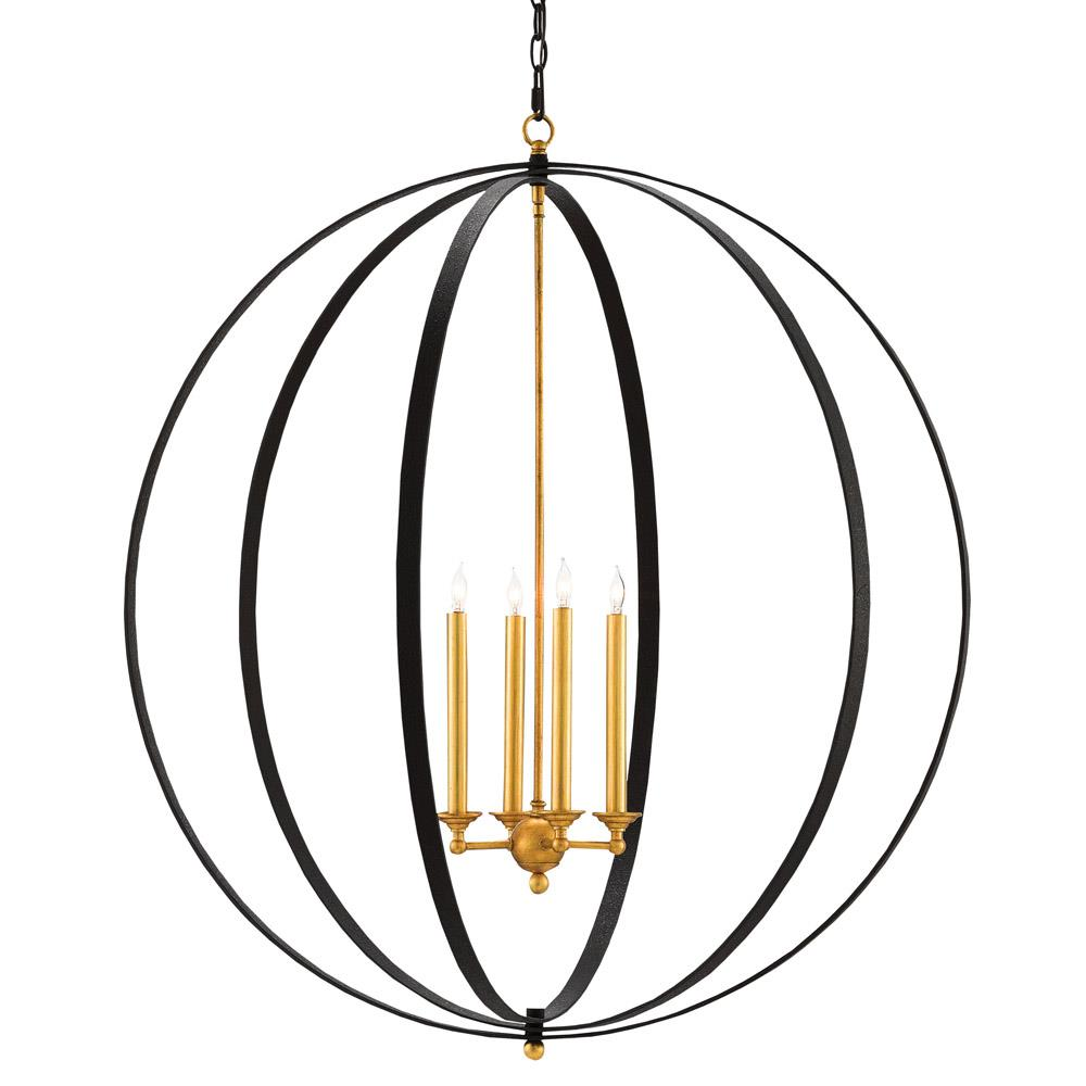 Ostrow modern classic black gold 4 light orb chandelier kathy kuo home aloadofball Image collections