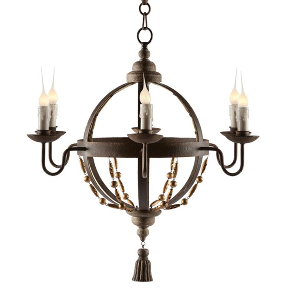 Atlas Globe French Country Tassel 6 Light Chandelier