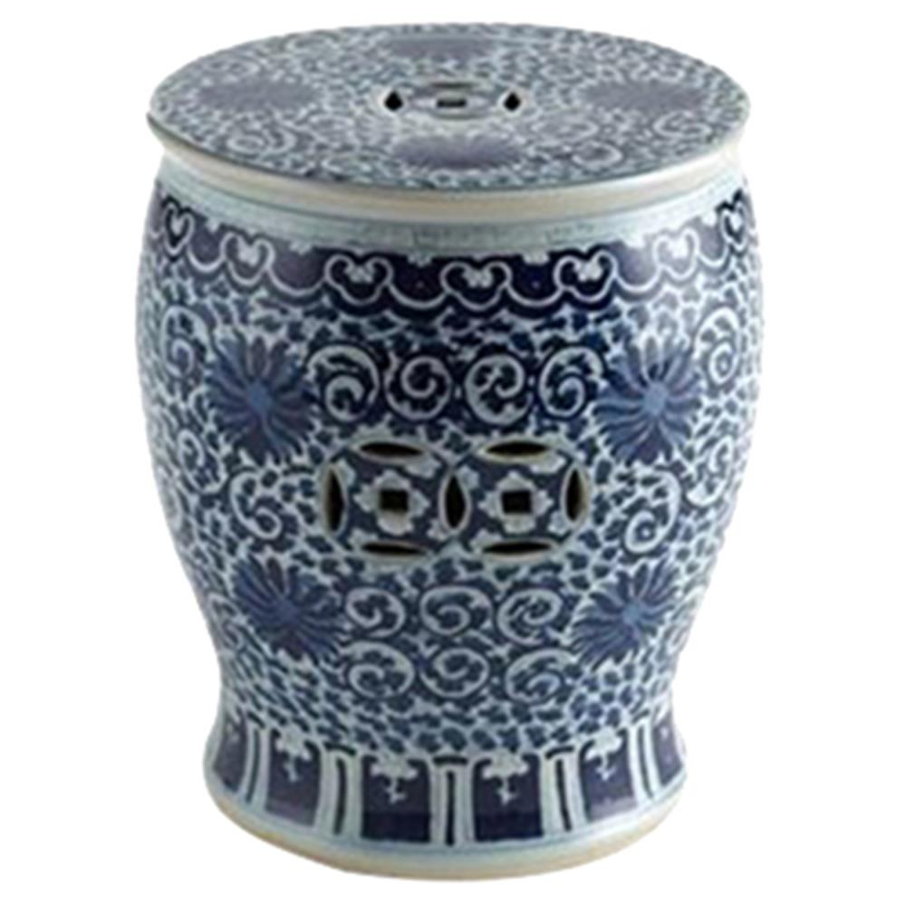Matt Global Bazaar Blue White Twisted Lotus Drum Outdoor Garden Stool |  Kathy Kuo Home