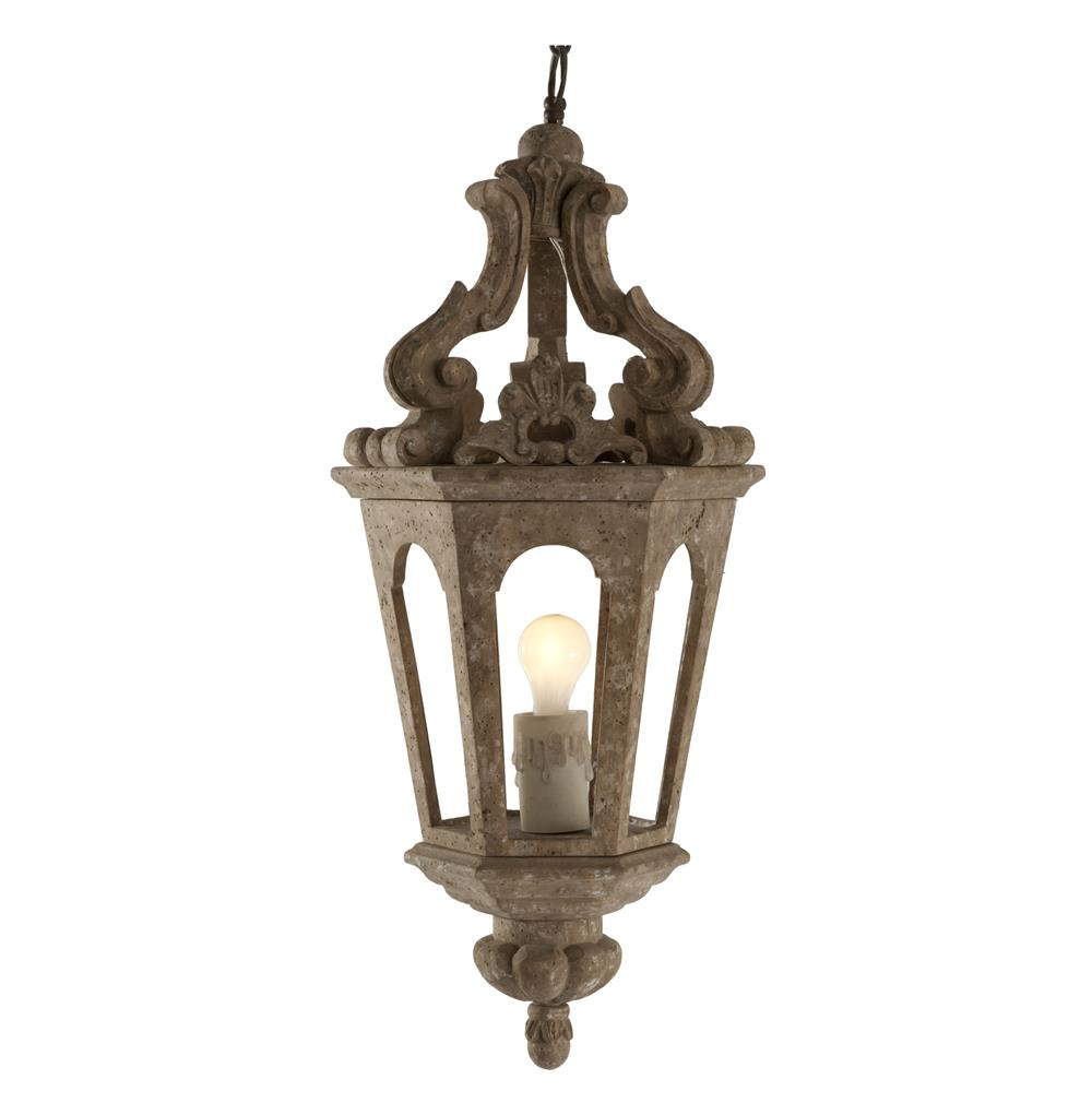 Edna French Country Aged Wood Gold Pendant Lamp