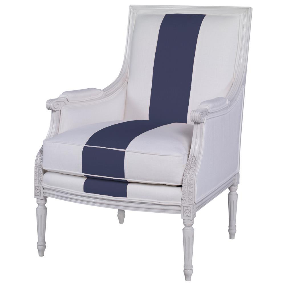 Antoinette French Country White Blue Linen Stripe Wood Accent Chair | Kathy  Kuo Home ...