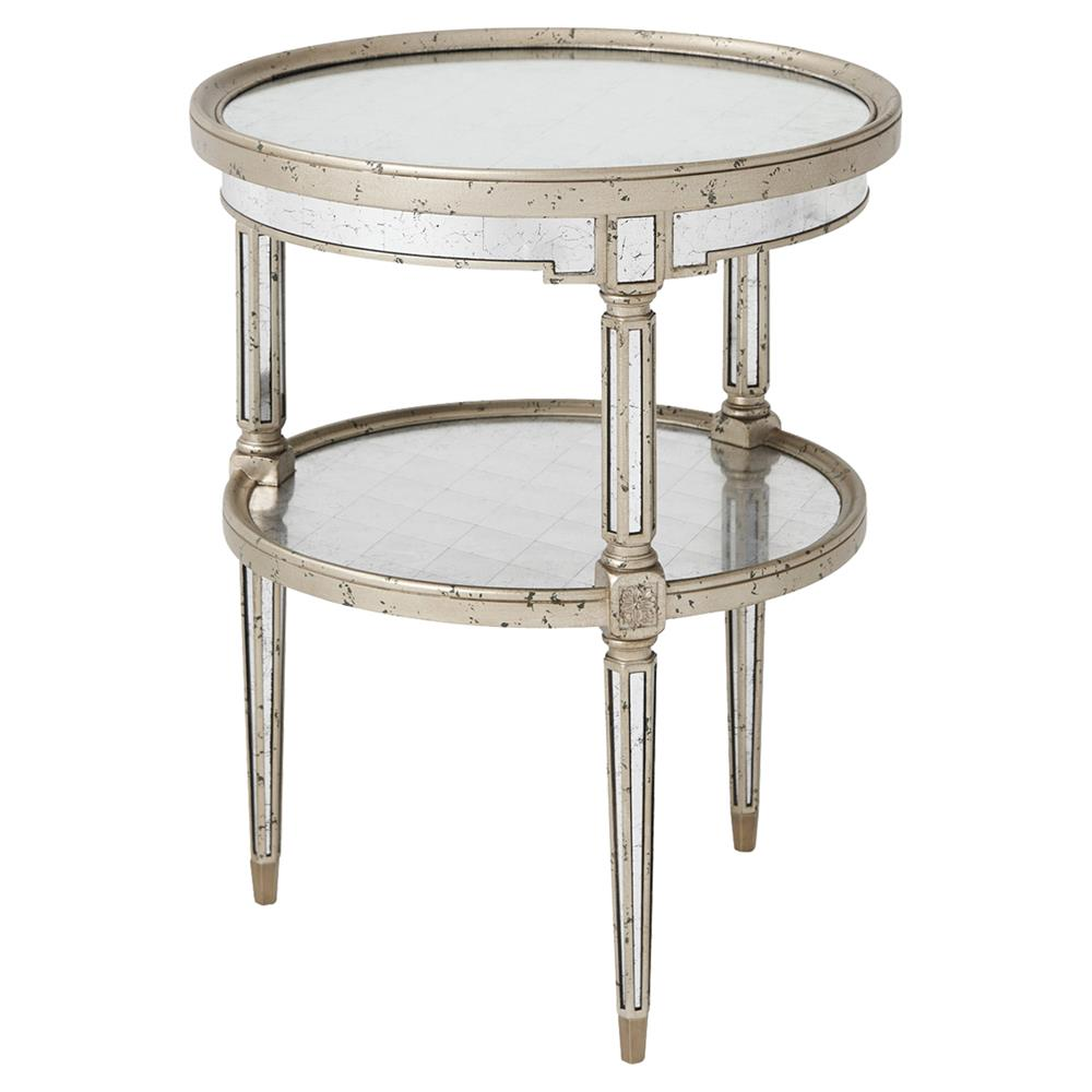 Theodore Alexander Starlight Regency Silver Leaf Round Tier Side End Table