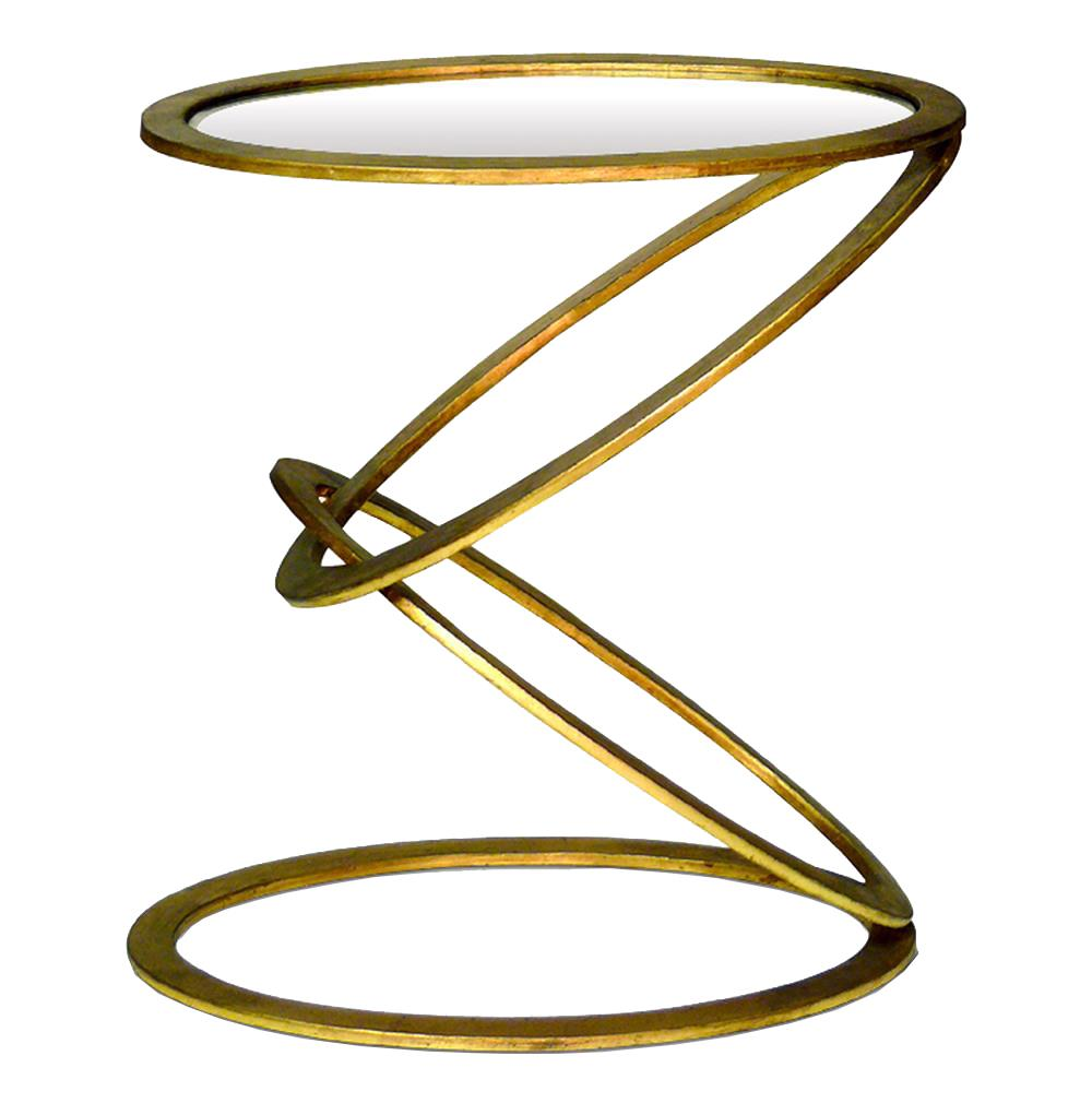 Mobius Contemporary Gold Leaf End Side Table Kathy Kuo Home
