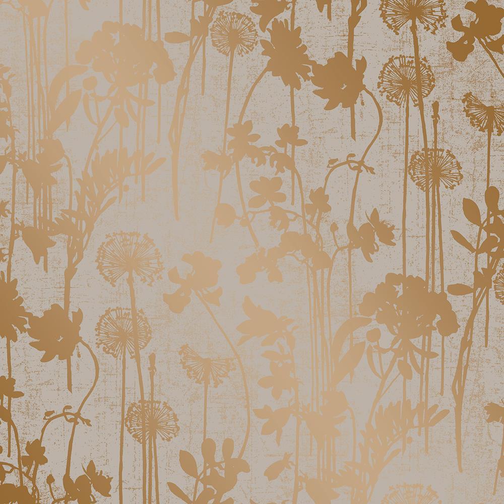 Metallic Copper Vintage Floral Removable Wallpaper Kathy