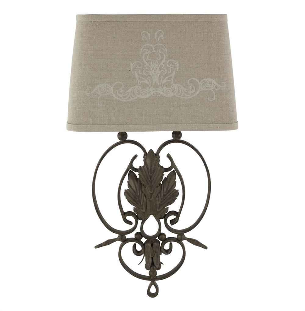 French Iron Wall Sconces : Pair Wrought Iron French Country Linen Scroll Leaf Wall Sconces Kathy Kuo Home