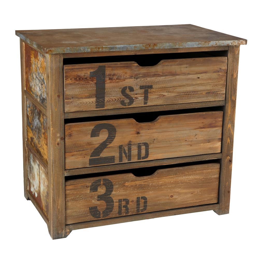 Chunky Rustic Three Drawer Reclaimed Wood Tin Top Dresser