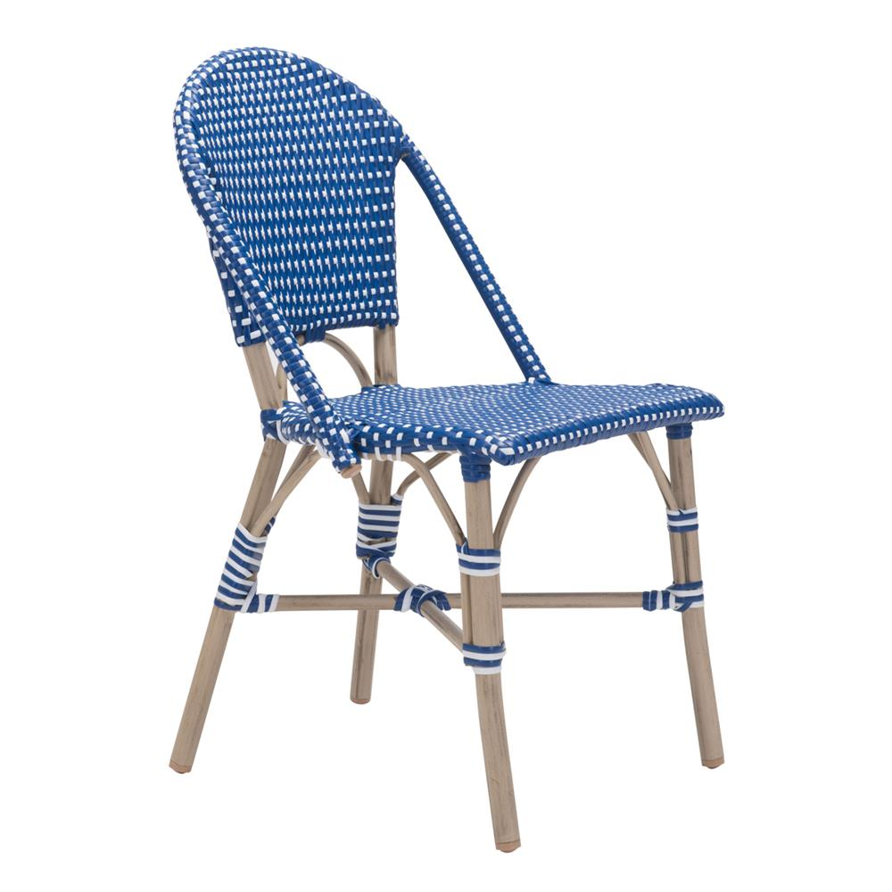 Francois French Country Faux Bamboo Navy And White Outdoor Bistro Side Chair  | Kathy Kuo Home ...