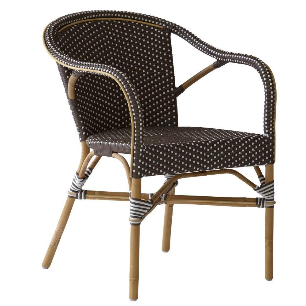 Ariella French Country Rattan Brown Outdoor Dining Arm Chair