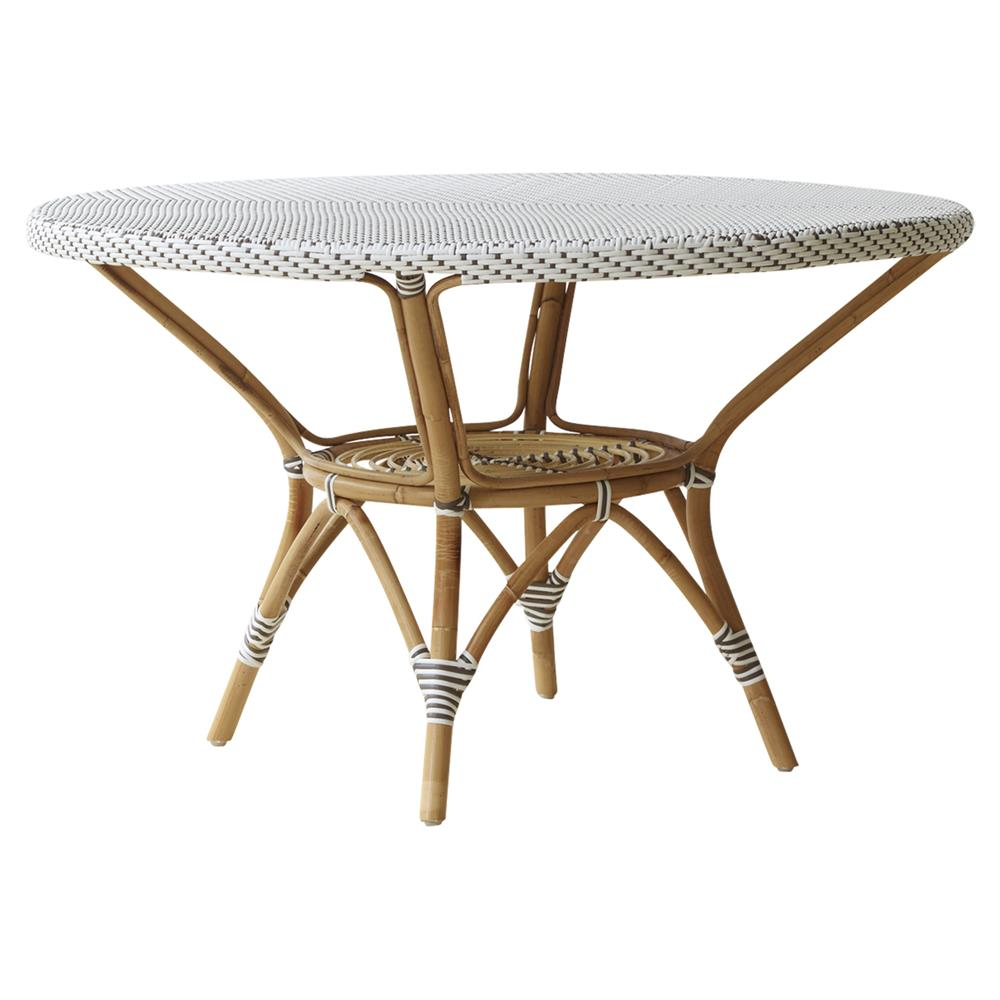 Esther French Country White Rattan Round Outdoor Dining Table Kathy Kuo Home