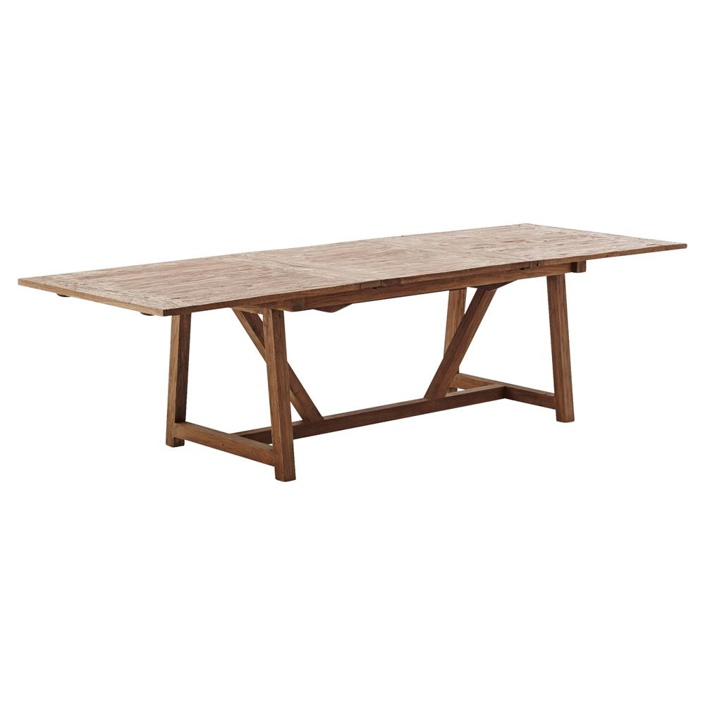 Mckenzie Rustic Lodge Reclaimed Teak Dining Table Extendable Kathy Kuo Home