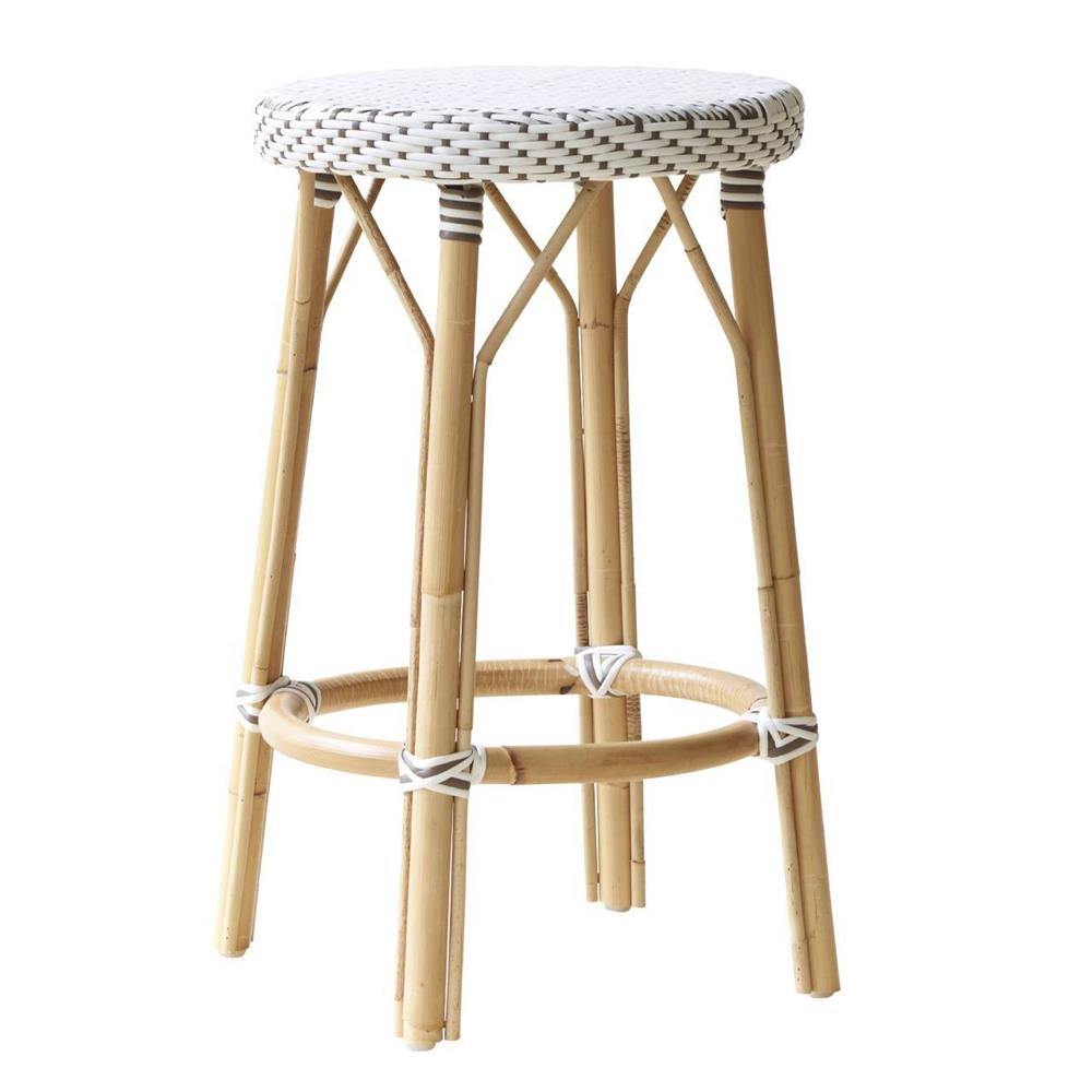 Angel French Country Rattan White Outdoor Counter Stool