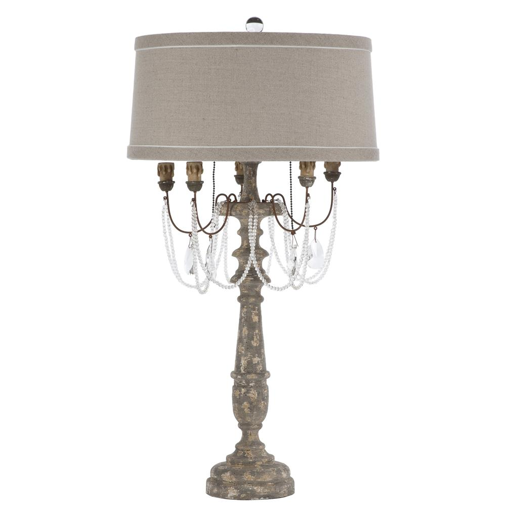 Pair la grey crystal swag antique wood french manor table lamp for Vintage wooden table lamps