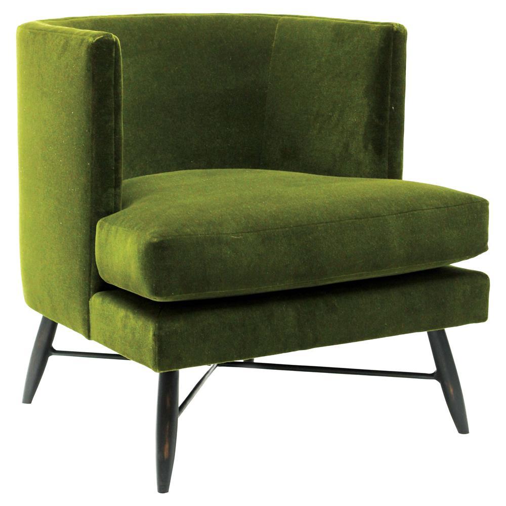 Oly studio poppy modern green mohair upholstered bronze metal living room chair kathy kuo home