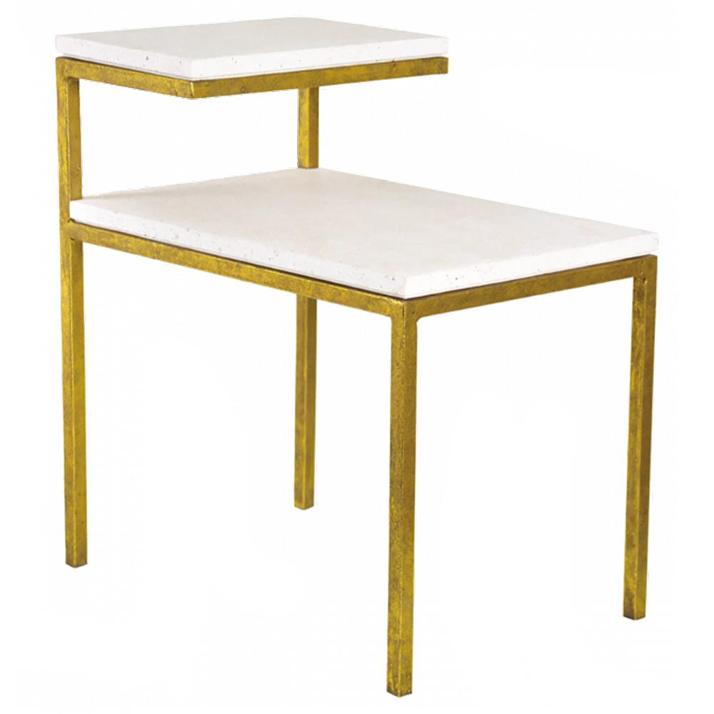 Oly Studio Quinn Regency White Resin Top Gold Metal Side End Table Kathy Kuo Home