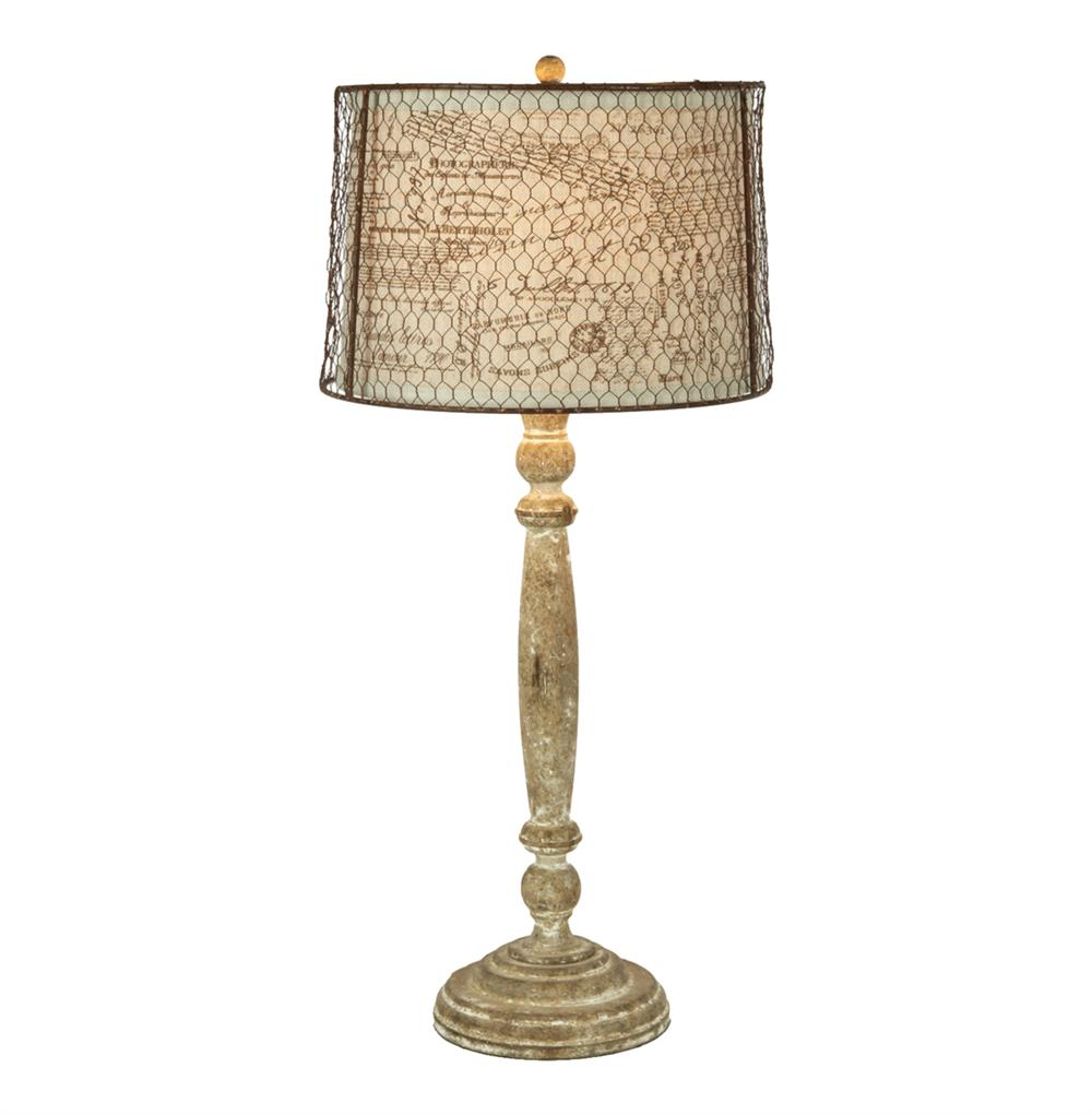 Pair Carson French Country Chicken Wire Linen Shade Lamp | Kathy Kuo ...