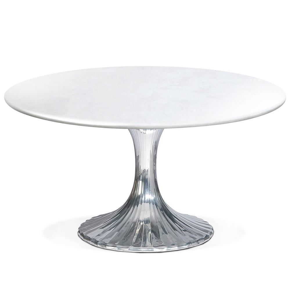 Oly studio luca modern round white stone top silver metal dining table 48d kathy