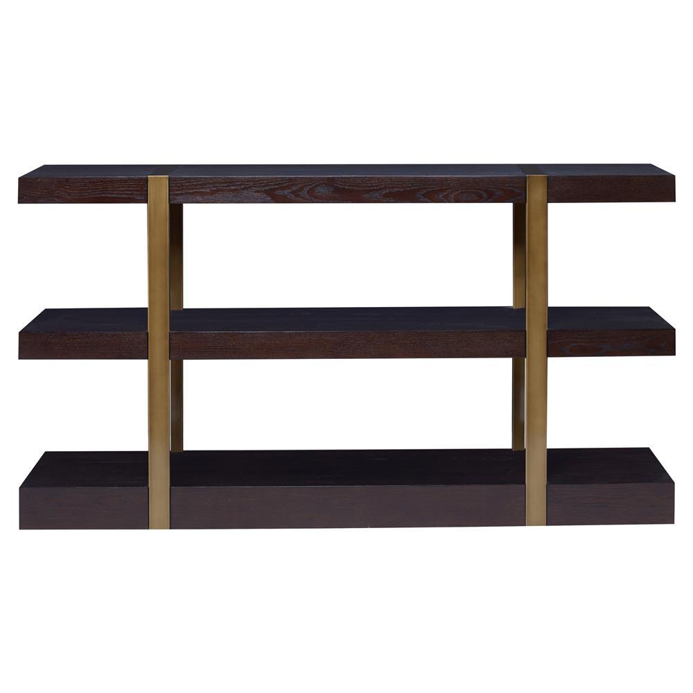 Mr Brown Mid Century Modern Mercer Warm Dark Oak Bookshelf - Mid century modern picnic table
