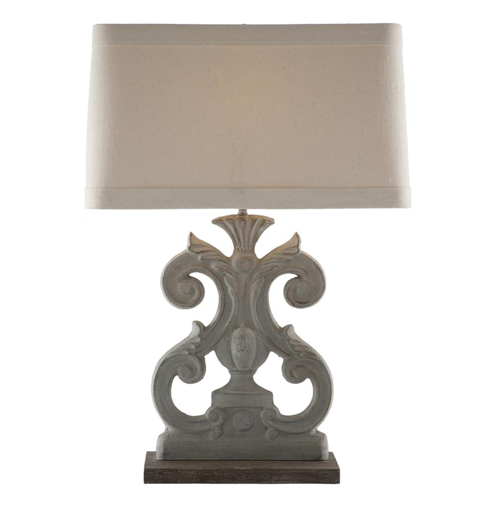 Pair Molly French Country Flat Scroll Rectangle Table Lamp