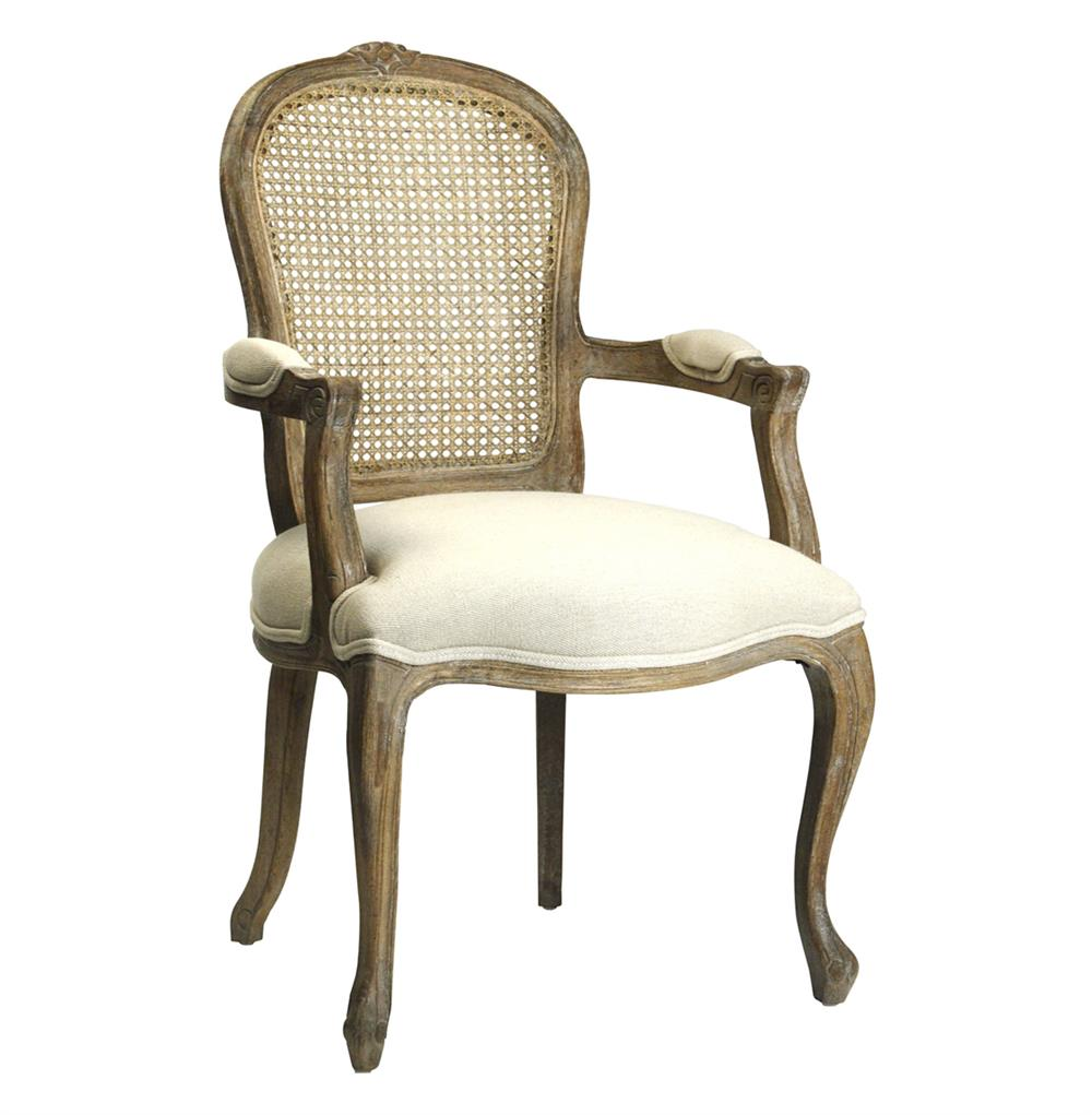 Lyon french country cane back linen dining arm chair for Dining room arm chairs
