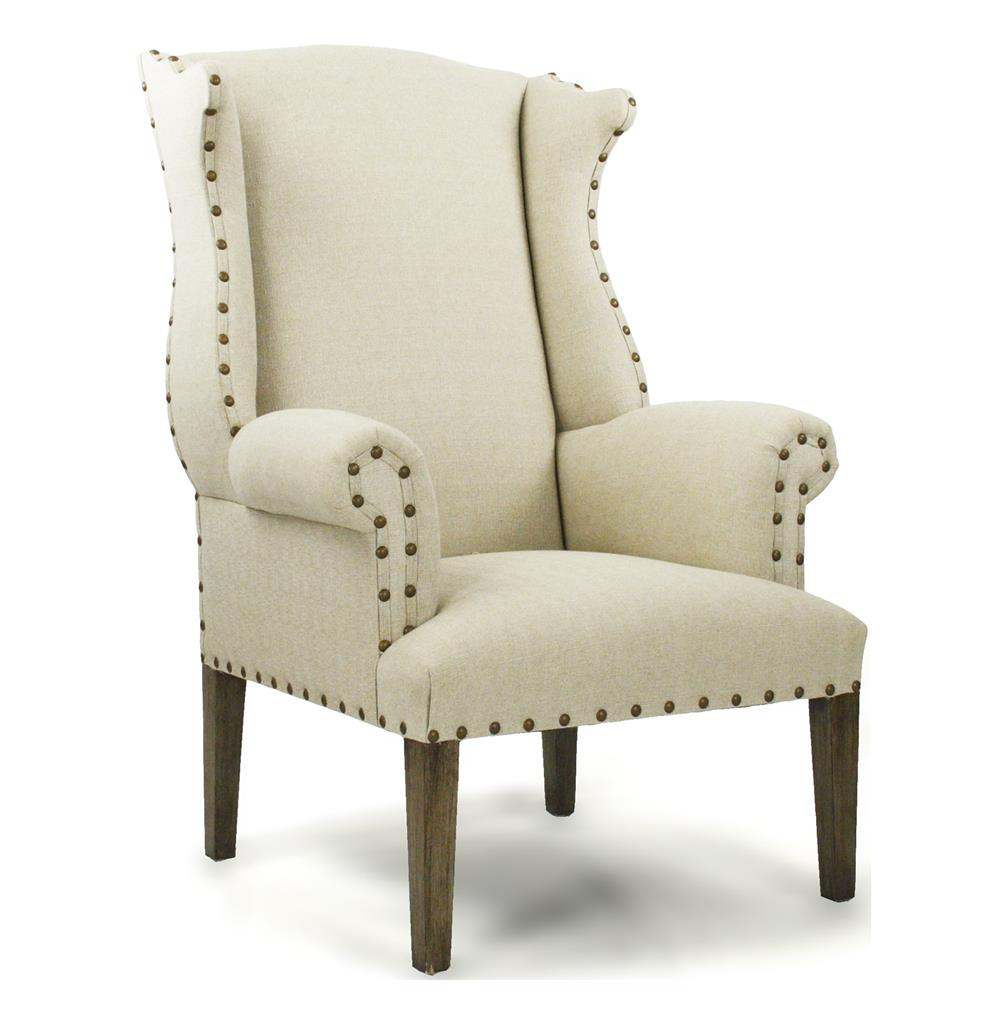 French Country Linen Nail Head Wing Back Arm Chair Kathy