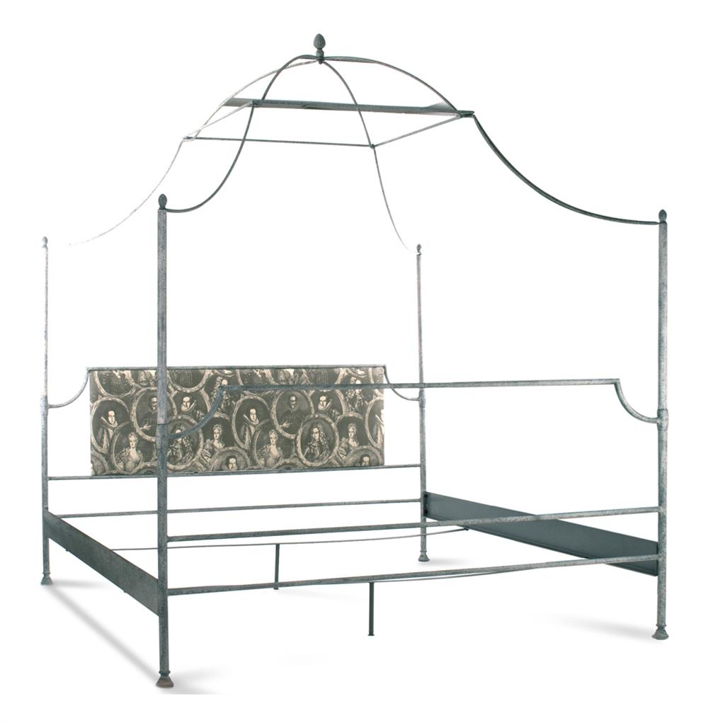 Dalton french country rustic metal old world canopy bed for Old world style beds