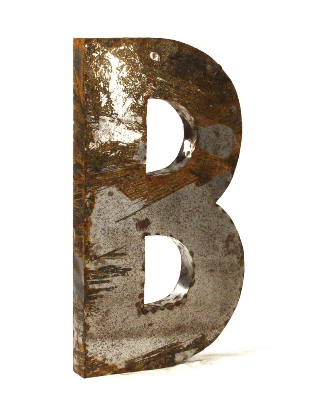 Industrial rustic metal large letter b 36 inch kathy kuo for Large b letter