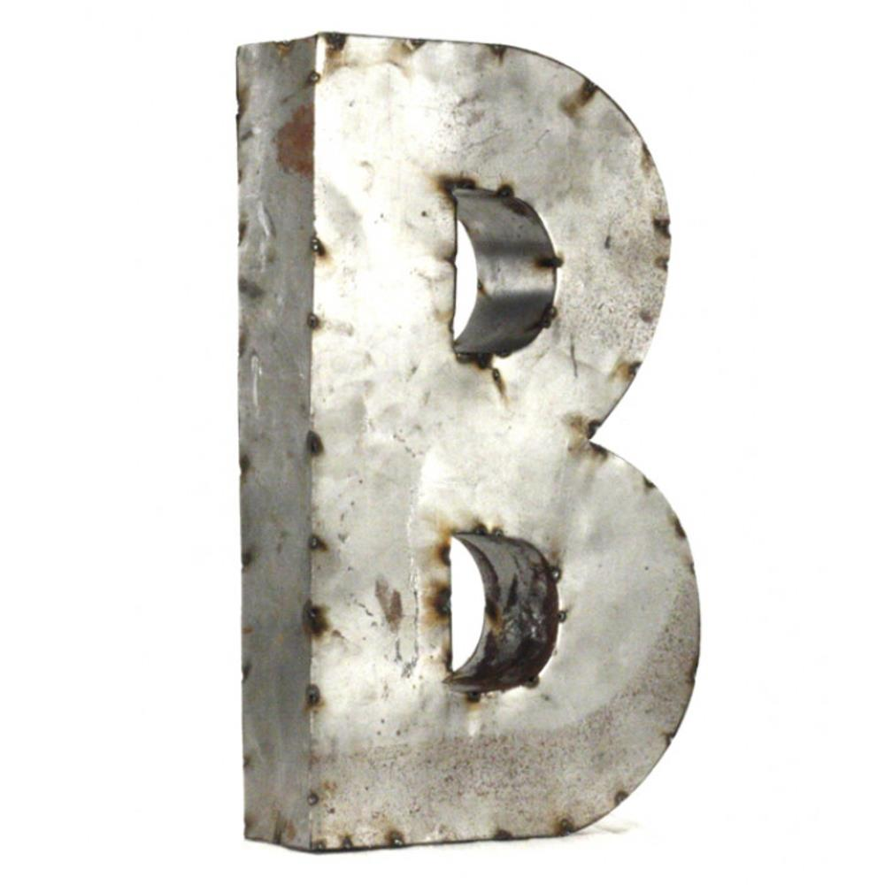 Industrial rustic metal small letter b 18 inch kathy kuo for 18 inch metal letters