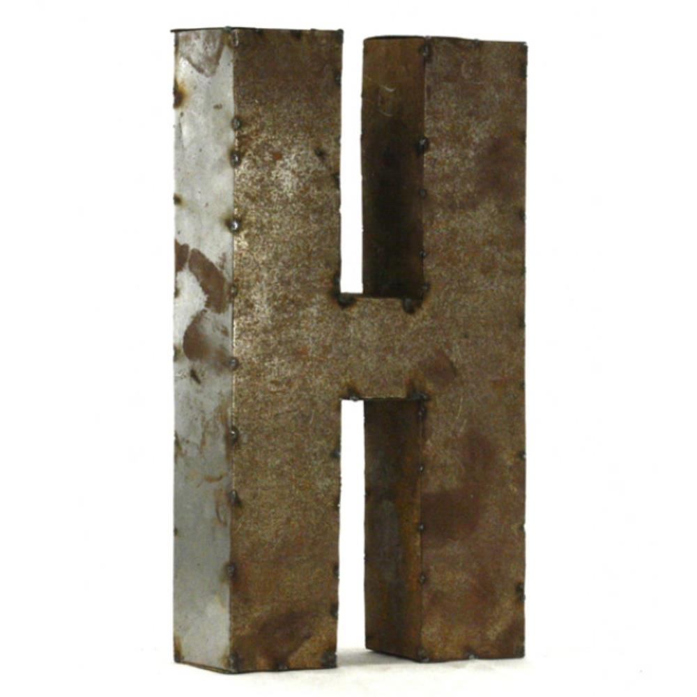 Industrial rustic metal small letter h 18 inch kathy kuo for 18 inch metal letters