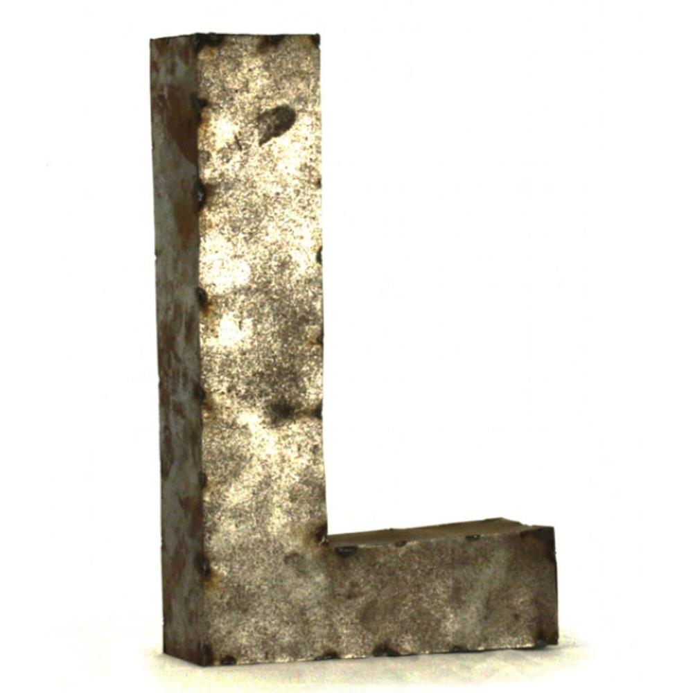 Industrial rustic metal small letter l 18 inch kathy kuo for 18 inch metal letters