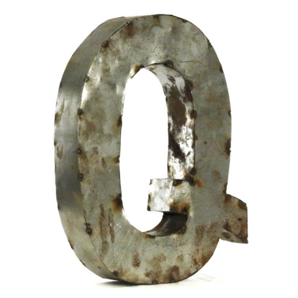 Industrial rustic metal small letter q 18 inch kathy kuo for 18 inch metal letters