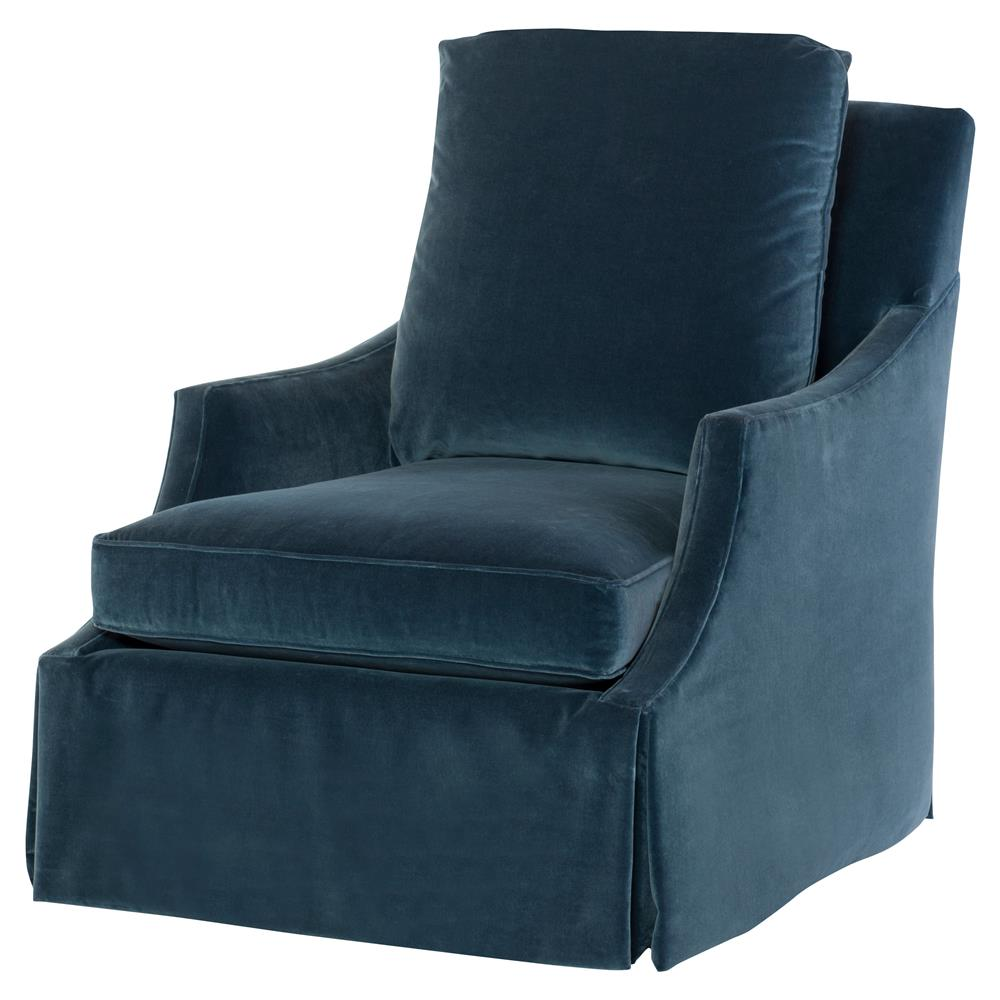 Anastasia Modern Classic Blue Velvet Feather Down Skirted Swivel Accent  Chair | Kathy Kuo Home ...