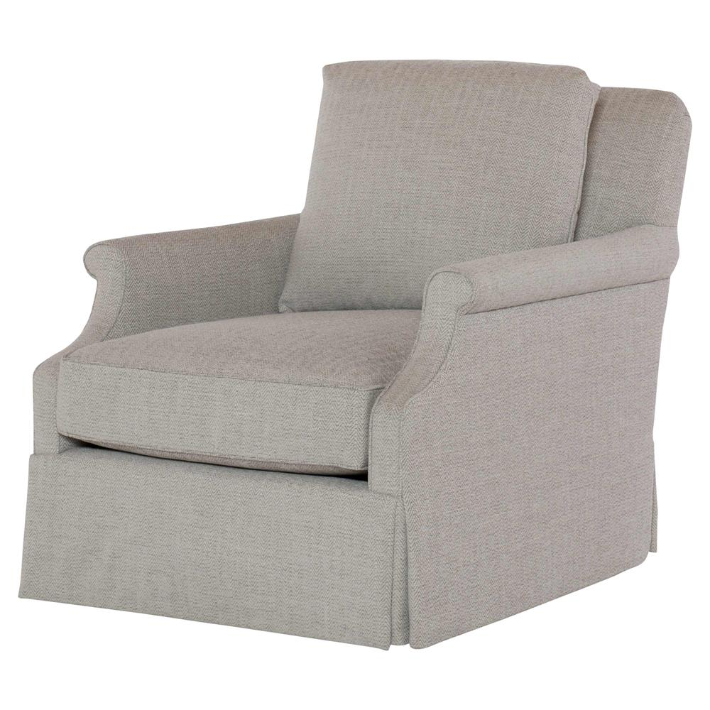 Genial Ellie Modern Classic Grey Upholstered Skirted Swivel Club Chair   Kathy Kuo  Home ...