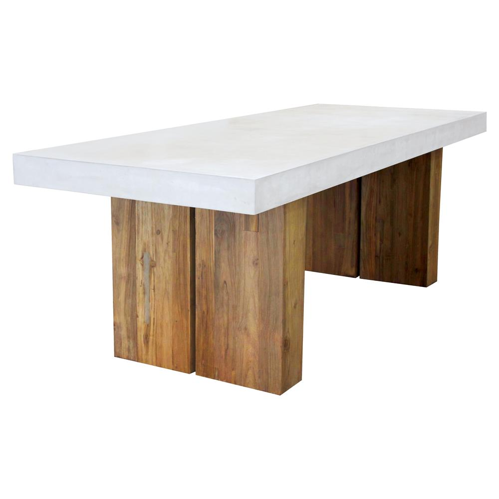 Cooper Modern Rectangular White Concrete Teak Base Outdoor Dining - White rectangular outdoor dining table