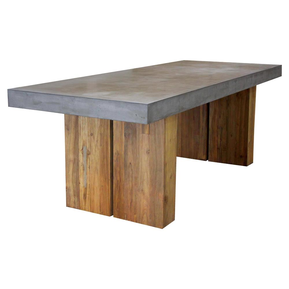 Cooper Modern Rectangular Grey Concrete Teak Base Outdoor Dining Table Small Kathy Kuo Home