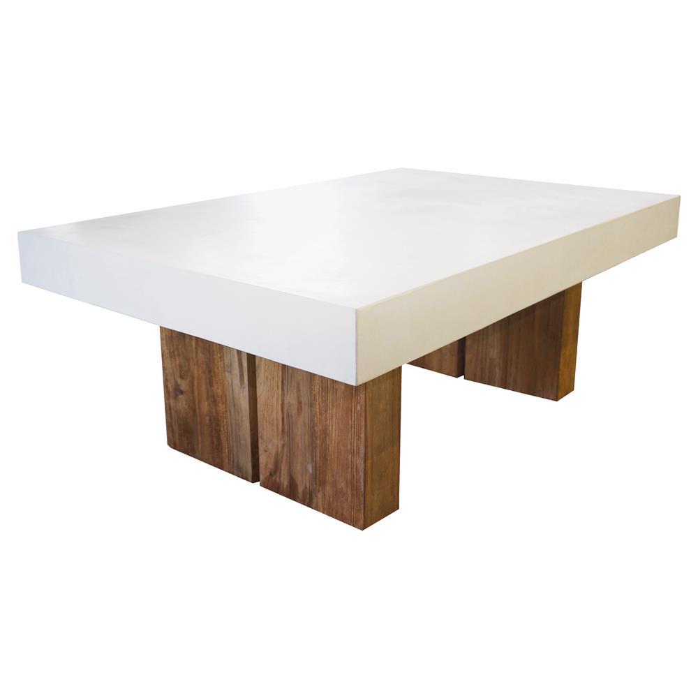 Cooper Modern Rectangular White Concrete Top Teak Base Outdoor Coffee Table Kathy Kuo Home