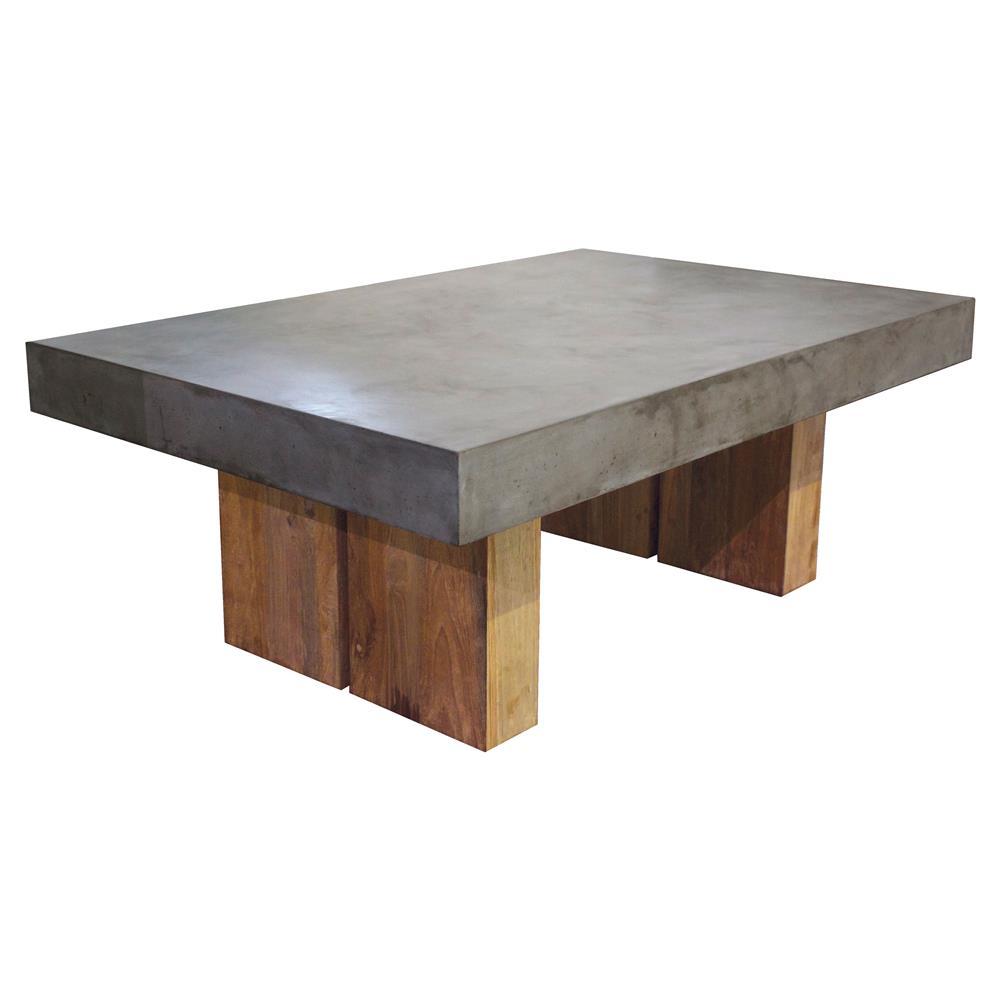 Teak Unique Coffee Table: Cooper Modern Rectangular Grey Concrete Top Teak Base