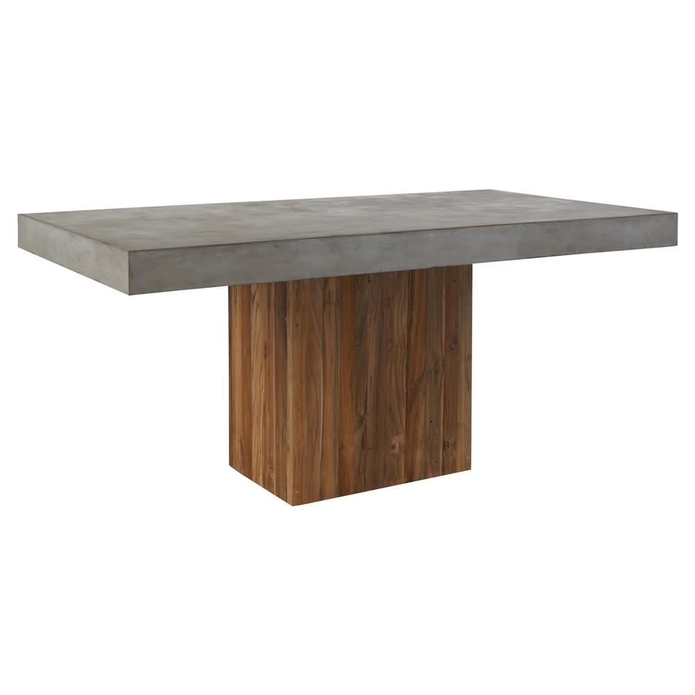 Cooper Modern Rectangular Grey Concrete Pedestal Outdoor Dining Table Kathy Kuo Home