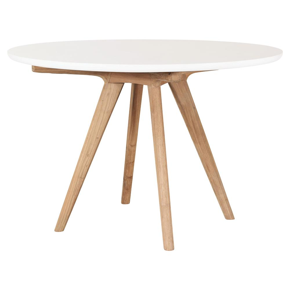 Cooper Modern Round White Concrete Top Teak Base Outdoor